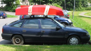 Pram dinghy on car roof rack